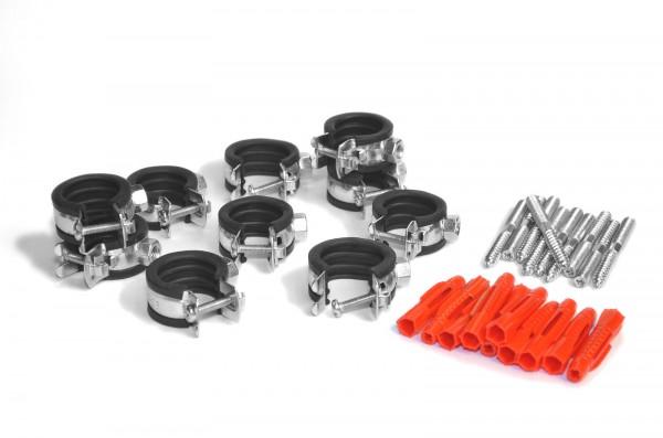 Rohrschellen-Sets 1-teilig mit Universaldübel und Stockschrauben zu jeweils 10 Stück