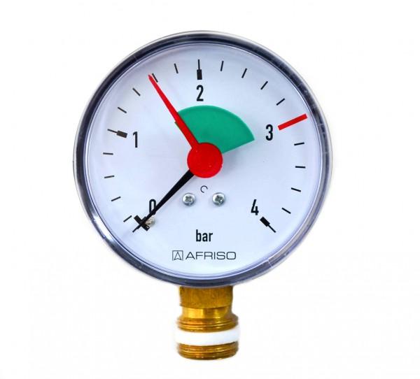 """Heizungsmanometer 0-4 bar G 3/8"""" senkrecht"""